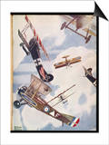 The Skies Over Europe are Filled with Warring Aircraft Prints by Stanley Orton