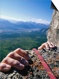 Climbers Hands Holding Onto Rock Ledge, Alberta, Canada Prints by Philip & Karen Smith
