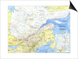 1991 Quebec Map Posters by  National Geographic Maps
