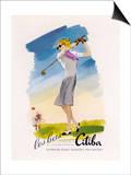 Lady Golfer Takes a Swing Art