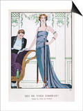 Tubular Grey Evening Gown by Worth with Any Fullness Drawn Over One Hip Affiche par Georges Barbier