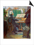 Wolfgang Amadeus Mozart the Austrian Composer Playing the Harpsichord Prints by Otto Nowak