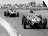Graham Hill Leads in his Lotus 16 from Jack Brabham in Cooper T45, 1958 British Grand Prix Prints