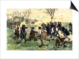 American Minutemen Fight to Hold Off the British Army at Concord Bridge, April 10, 1775 Prints