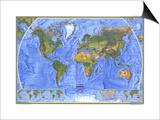1975 Physical World Map Print