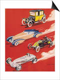 Four Very Different and Unequally Advantaged Cars Racing Posters by Geo Ham