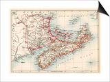 Map of Nova Scotia, Prince Edward Island, and New Brunswick, 1870s Prints