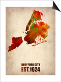 New York City Watercolor Map 2 Posters by  NaxArt