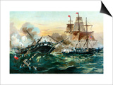 Naval Duel Between the Frigate USS Constitution and the British Ship Guerriere, War of 1812 Posters
