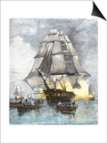 USS Constitution Being Towed in Rowboats Away from the Becalmed British Navy, War of 1812 Posters