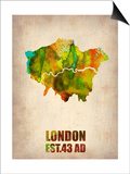 London Watercolor Map 1 Prints by  NaxArt