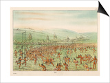 Large Crowd of Native Americans Play Lacrosse Posters by George Catlin