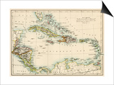Map of West Indies and the Caribbean Sea, 1800s Posters