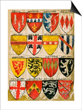 Shields of English Knights and Barons, Painted During the Reign of Edward Iii Posters
