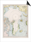 Map of the Arctic Circle with Details of Explorations - Reprodüksiyon