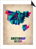 Amsterdam Watercolor Map Poster by  NaxArt