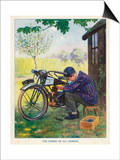 """The Finest of All Hobbies"", a Boy Tinkers with His Motor Bike Print by Algernon Fovie"