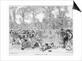 At Rugby School a Crowd of Schoolboys Run after the Ball at Rugby Poster by Walter Thomas