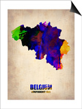 Belgium Watercolor Map Prints by  NaxArt