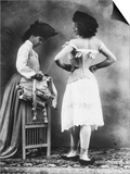Lady Tries on a Corset While Another Woman Waits with Another One Print