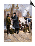 Oyster Buyer Tasting a Sample on the Dock in Baltimore, Maryland, 1880s Art
