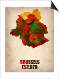 Brussels Watercolor Map Posters by  NaxArt