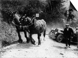 Horses Pulling Broken Down MG Up a Hill During a Trial, 1930's Poster