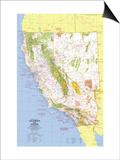 1974 Close-up USA, California and Nevada Map Posters