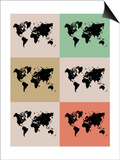 World Map Grid Poster 2 Posters by  NaxArt