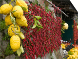 Close-up of Lemons and Chili Peppers in a Market Stall, Sorrento, Naples, Campania, Italy Print