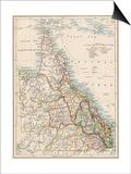 Map of Queensland, Australia, 1870s Prints