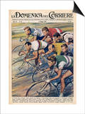 "Riders in the ""Giro d""Italia"" the Most Important Italian Cycle Race Posters by Walter Molini"