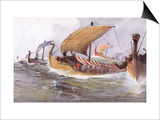 Viking Raiding Fleet Racing Across the North Sea Prints by Albert Sebille