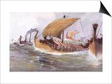 Viking Raiding Fleet Racing Across the North Sea Prints by Albert Sebille