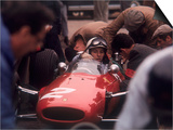 Mechanics Work on John Surtees in Ferrari During Pit Stop Posters