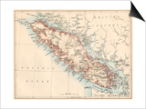 Map of Vancouver Island, British Columbia, Canada, 1870s Print