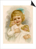 Little Girl with a Blue Ribbon in Her Hair Clutching Her Dolls Art by Ida Waugh