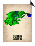 Dublin Watercolor Map Posters by  NaxArt