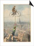 German Husband and Wife Team Perform a Dramatic Tightrope Cycling Act Art by Achille Beltrame