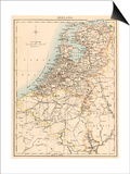 Map of Holland, 1870s Poster