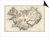 Map of Iceland, 1870s Prints