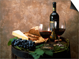 Still Life of Wine Bottle, Wine Glasses, Cheese and Purple Grapes on Top of Barrel Posters