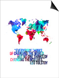 World Map Quote Leo Tolstoy Posters by  NaxArt
