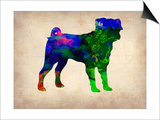 Pug Watercolor Poster by  NaxArt