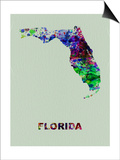 Florida Color Splatter Map Posters by  NaxArt