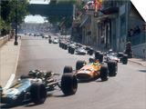 1968 Monaco Grand Prix, Jochen Rindt in Brabham leads Bruce McLaren in McLaren-Ford Posters