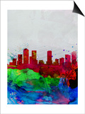 Denver Watercolor Skyline Posters by  NaxArt