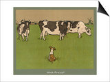 Who's Afraid, a Perky Little Dog Keeps an Eye on Three Cows Prints by Cecil Aldin