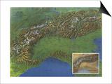 1965 Alps, Europes Backbone Map Art