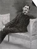 Marcel Proust French Writer Relaxing on an Ornate Sofa Poster by  Otto-pirou